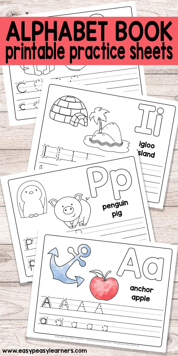 Free Printable Alphabet Book - Alphabet Worksheets For Pre-K And K - Free Abc Printables For Kindergarten