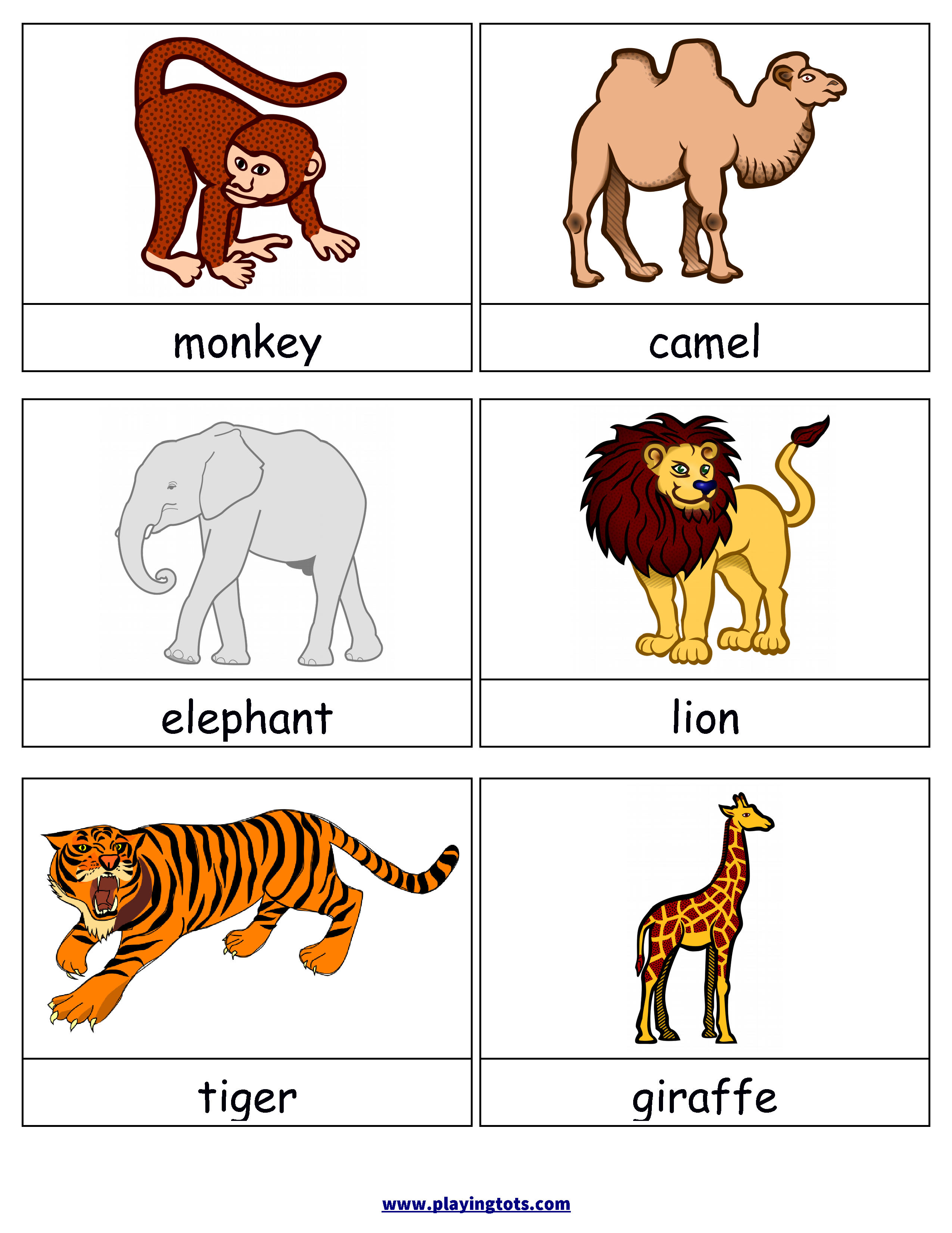 Free Printable Animals Flash Cards   Free Printable For Learning - Free Printable Animal Cards