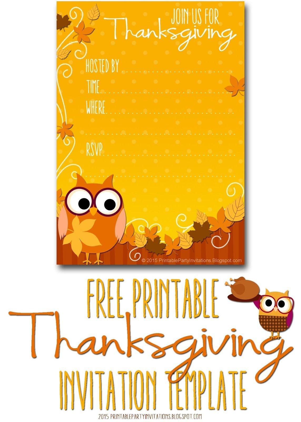 Free Printable Autumn Owl Thanksgiving Invitation Template   Party - Free Printable Thanksgiving Invitation Templates