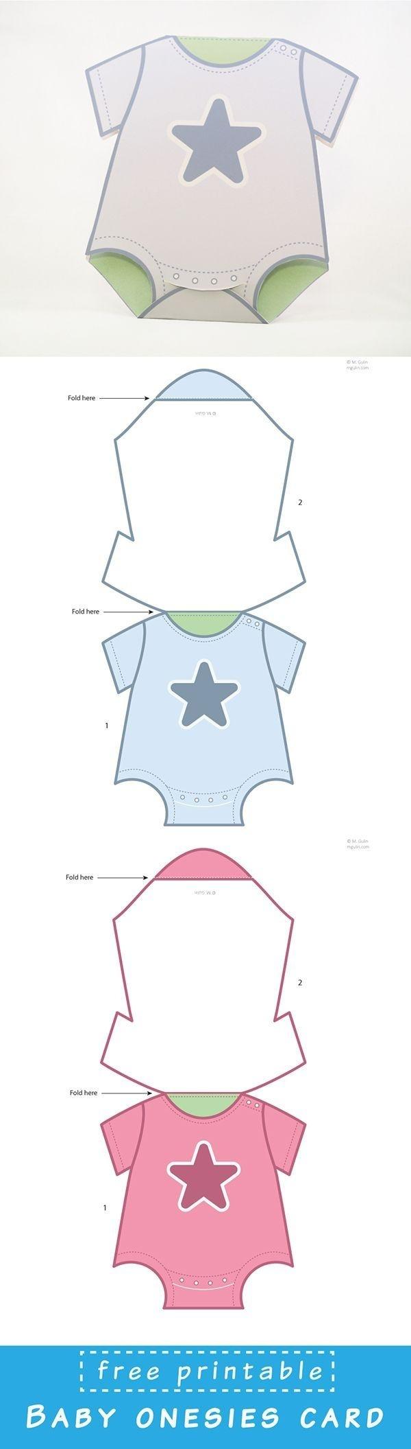Free Printable Baby Onesies Card Template. Just Dowload And Assemble - Free Printable Onesies