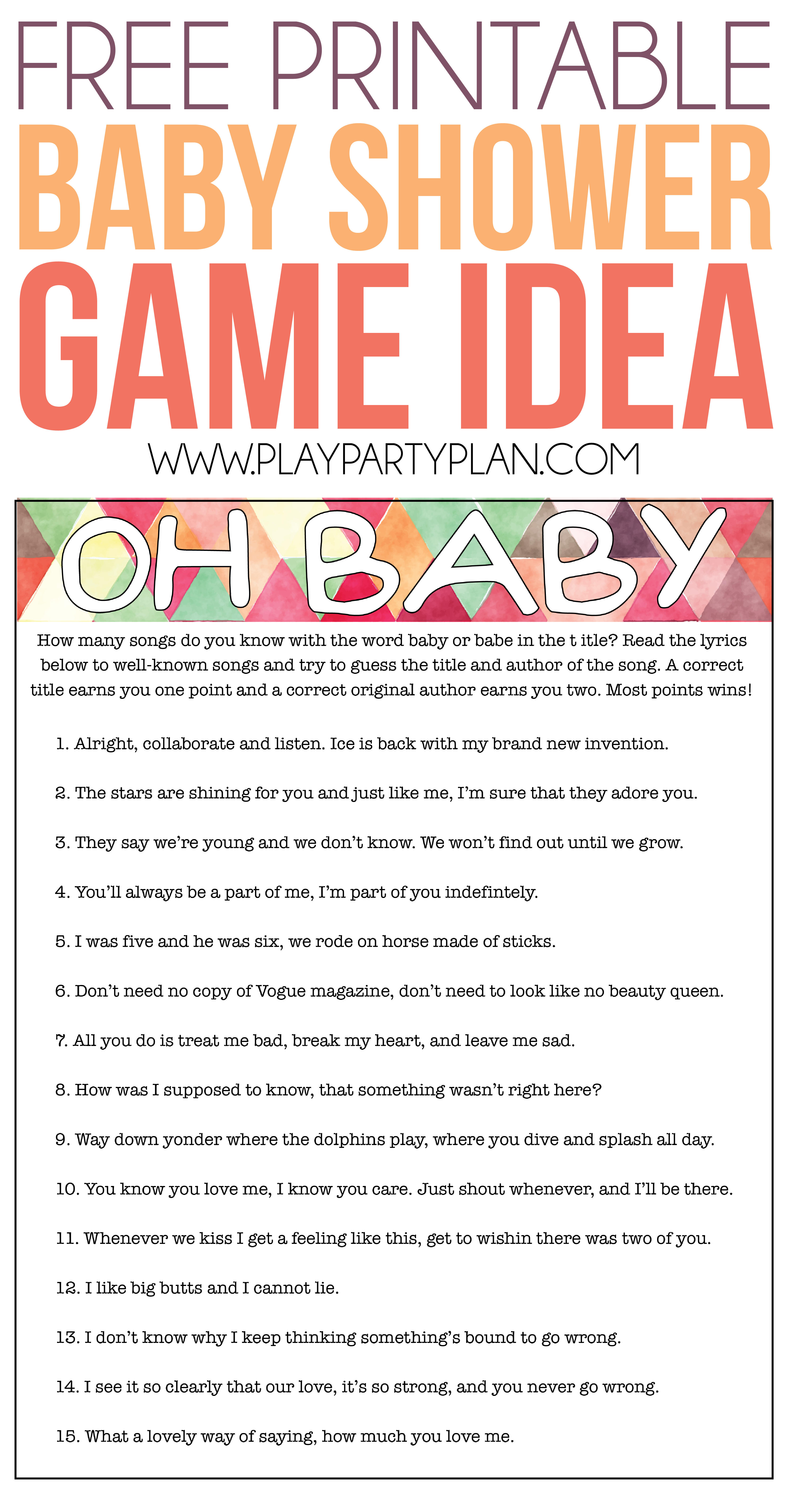 Free Printable Baby Shower Game That Has Guests Guess The Name Of - Name That Tune Baby Shower Game Free Printable