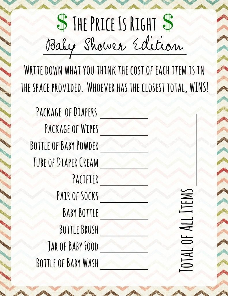 Free Printable Baby Shower Games Price Is Right Game … | Shower - Free Printable Price Is Right Baby Shower Game