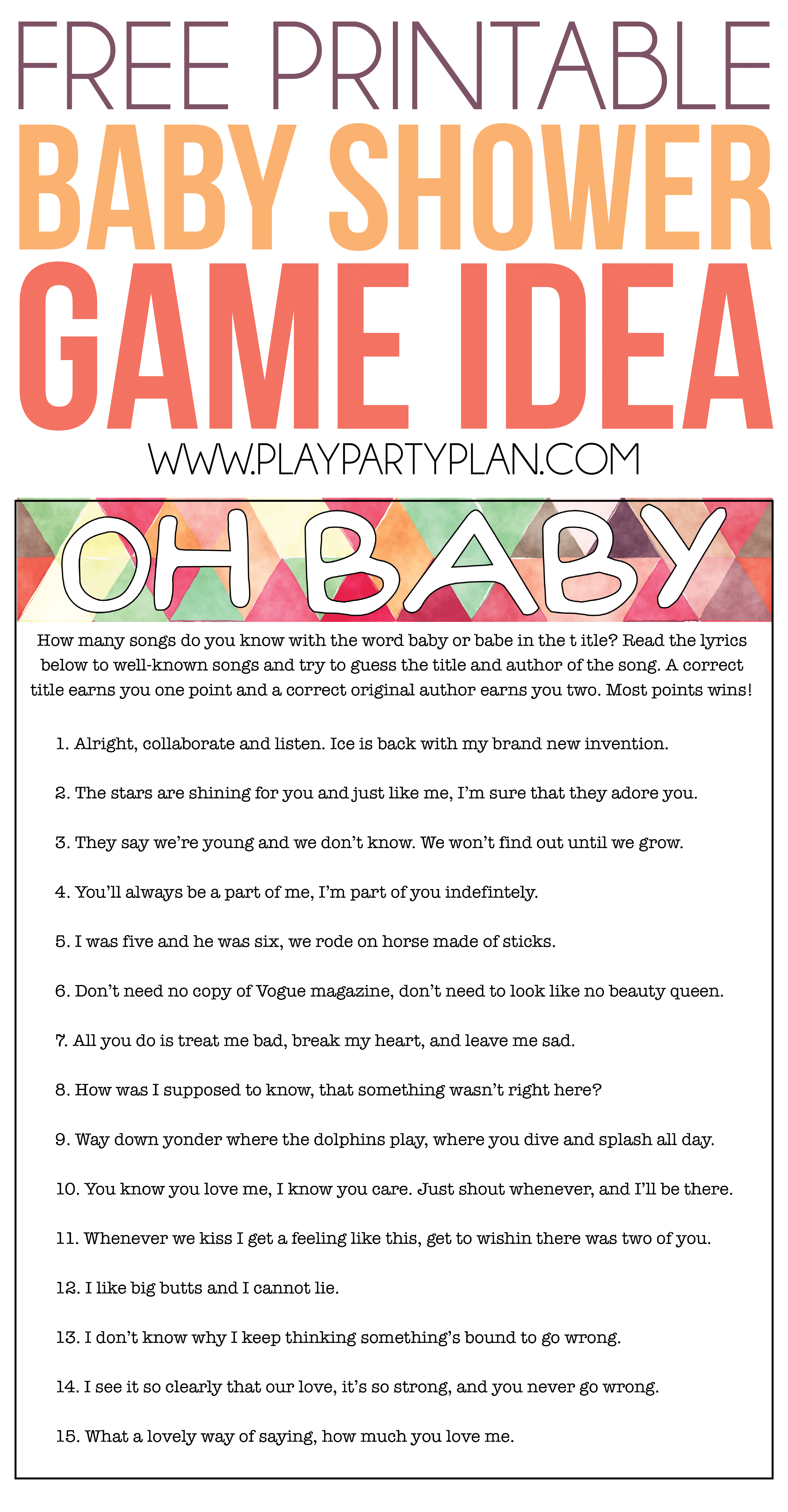 Free Printable Baby Shower Songs Guessing Game - Play Party Plan - Find The Guest Baby Shower Game Free Printable