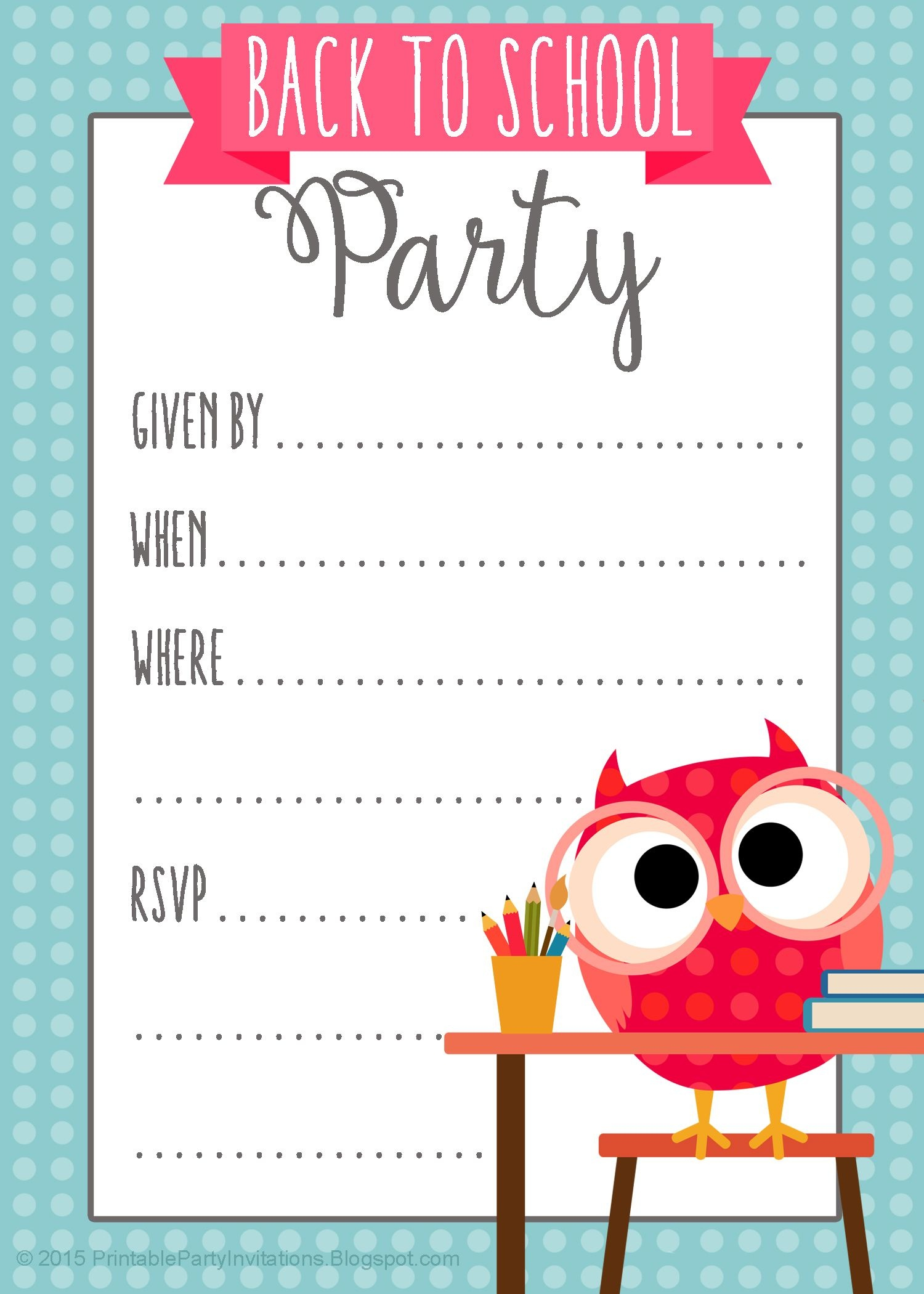 Free Printable Back To School Party Invitation   Party Printables - Free Printable Labor Day Invitations