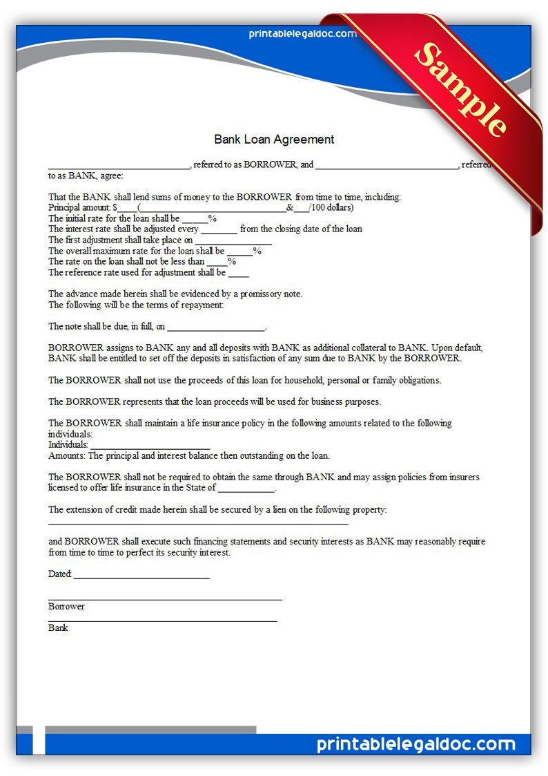 Free Printable Bank Loan Agreement | Sample Printable Legal Forms - Free Printable Legal Documents
