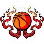 Free Printable Basketball Clip Art | Basketball Template With Flames   Free Printable Basketball Court