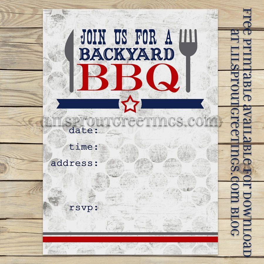 Free Printable Bbq Party Invite Lilsproutgreetings Free Printable - Free Printable Labor Day Invitations