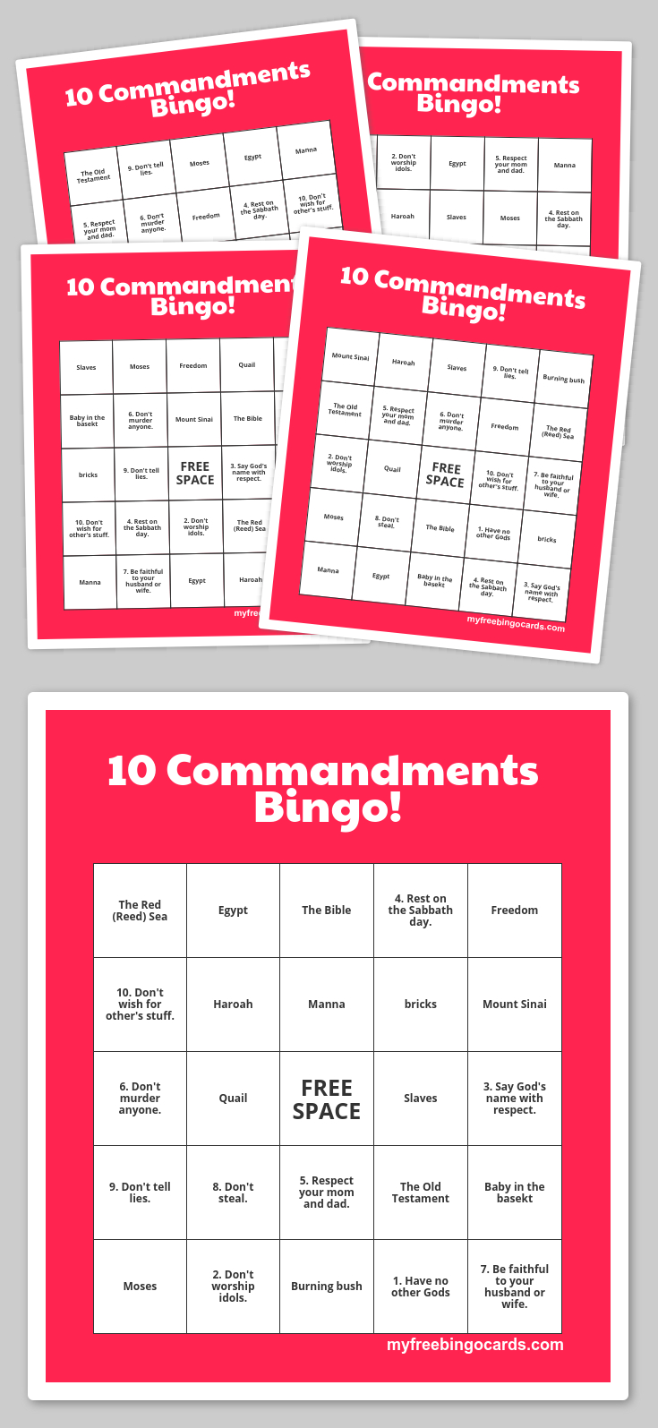 Free Printable Bingo Cards | The 10 Commandments | Sunday School - Bible Bingo Free Printables