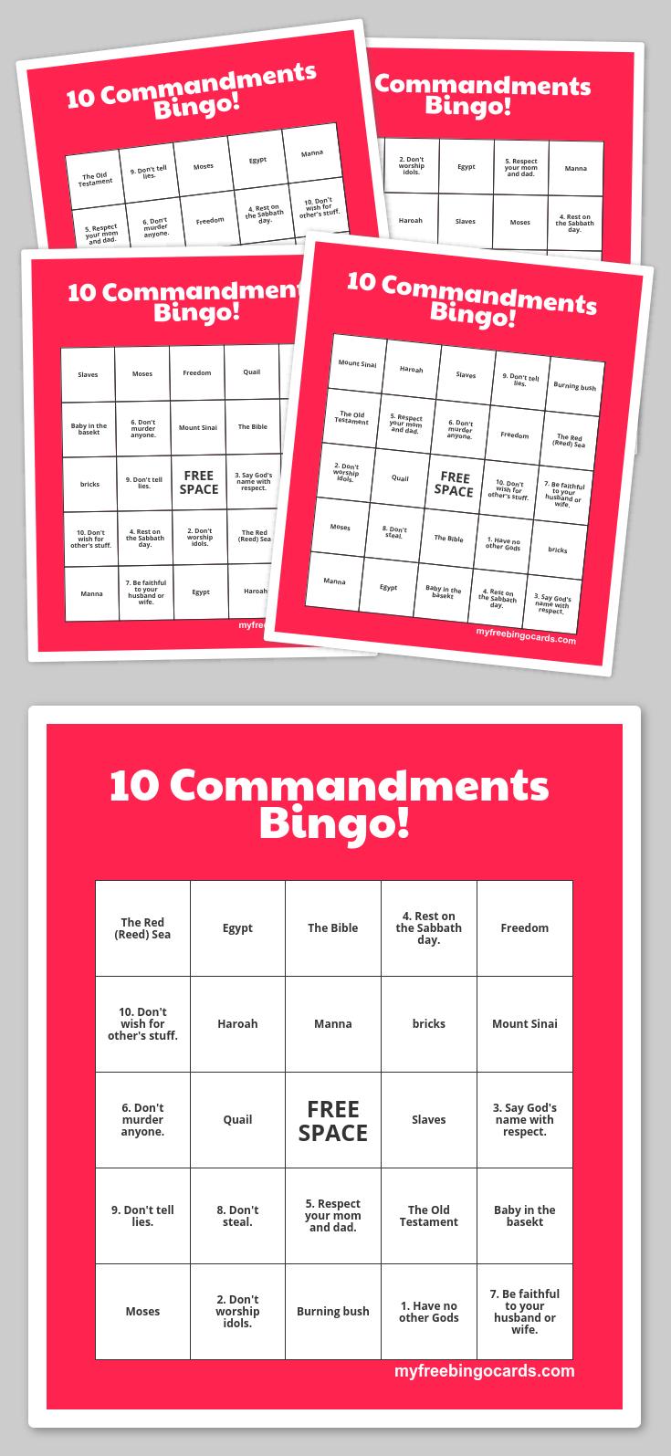 Free Printable Bingo Cards | The 10 Commandments | Sunday School - Free Printable Bible Bingo For Preschoolers