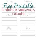 Free Printable Birthday & Anniversary Calendar | Best Of   Free Anniversary Printables