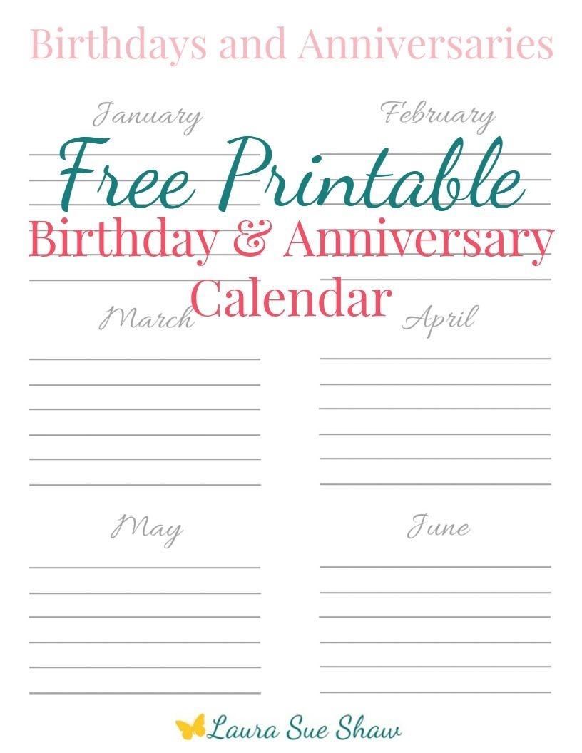 Free Printable Birthday & Anniversary Calendar | Best Of - Free Anniversary Printables