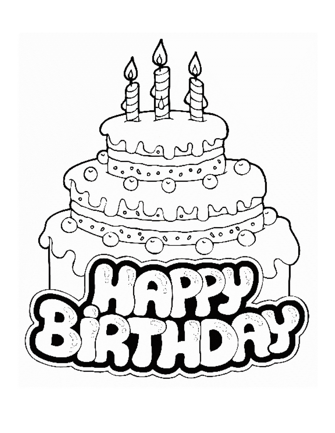 Free Printable Birthday Cake Coloring Pages For Kids - Free Printable Pictures Of Birthday Cakes
