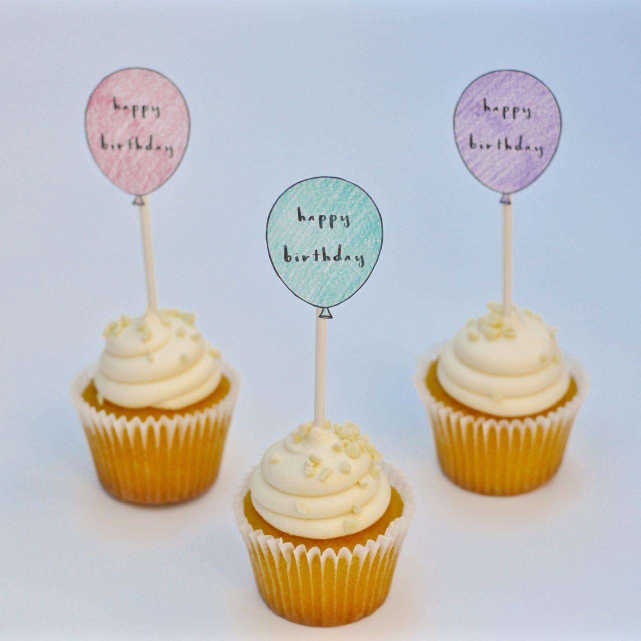 Free Printable Birthday Cupcake Toppers - Make Life Lovely - Free Printable Happy Birthday Cake Topper