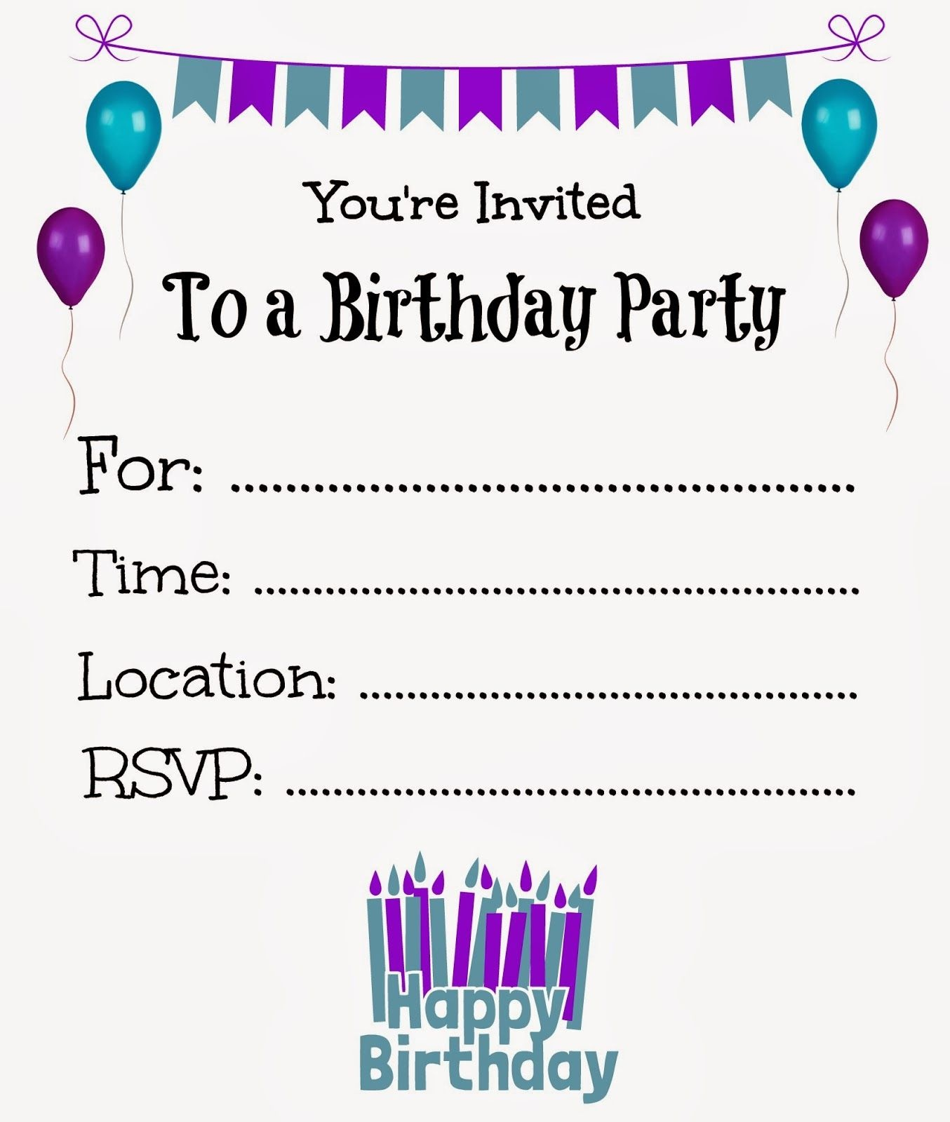 Free Printable Birthday Invitations For Kids #freeprintables - Free Printable Girl Birthday Party Invitations