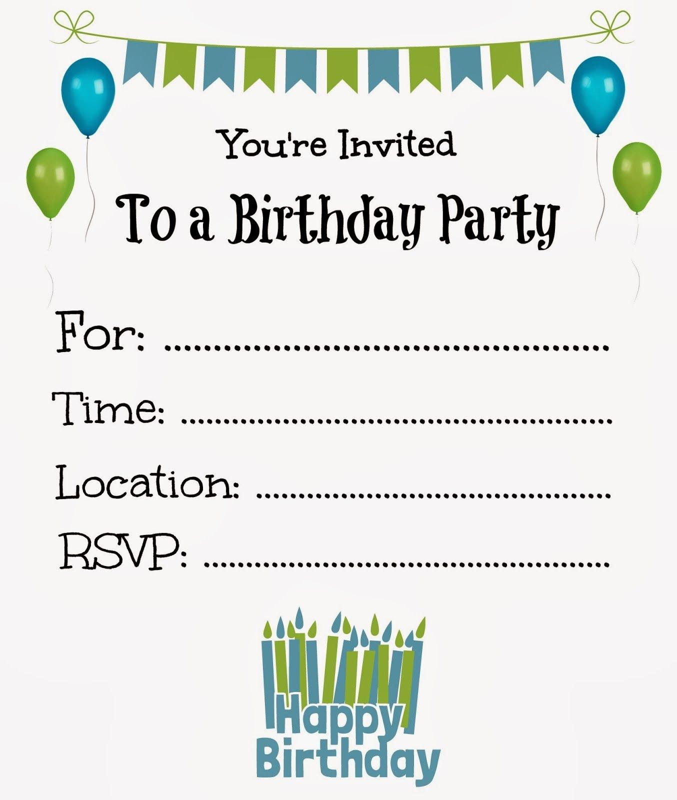 Free Printable Birthday Invitations For Kids #freeprintables - Free Printable Kids Birthday Cards Boys
