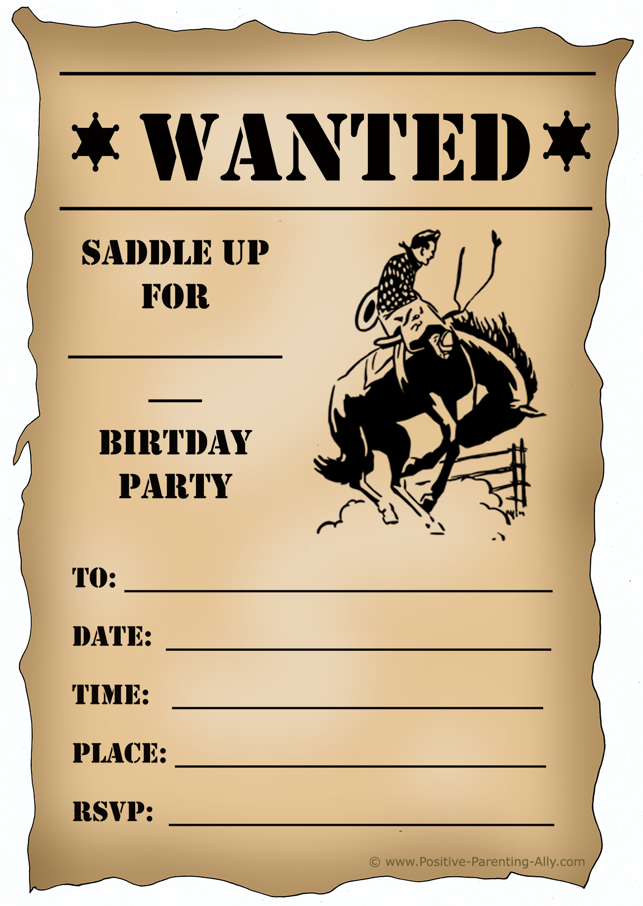 Free Printable Birthday Party Invitations For Kids: High Resolution - Free Printable Cowboy Birthday Cards