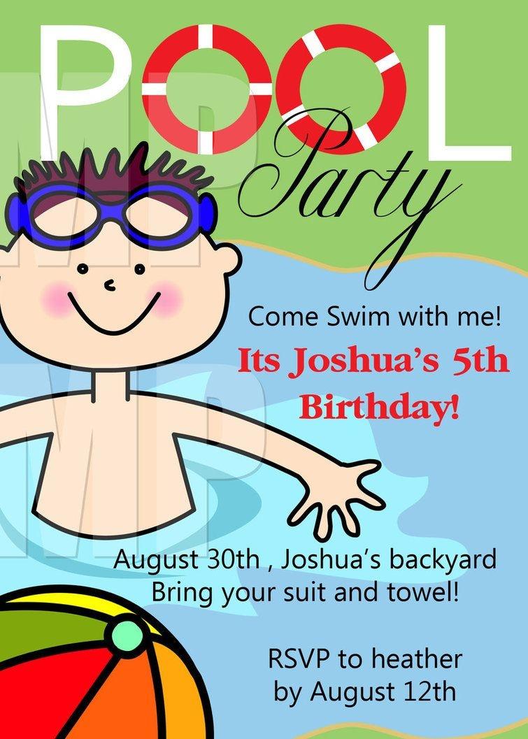 Free Printable Birthday Pool Party Invitations Templates | Niko - Free Printable Pool Party Birthday Invitations
