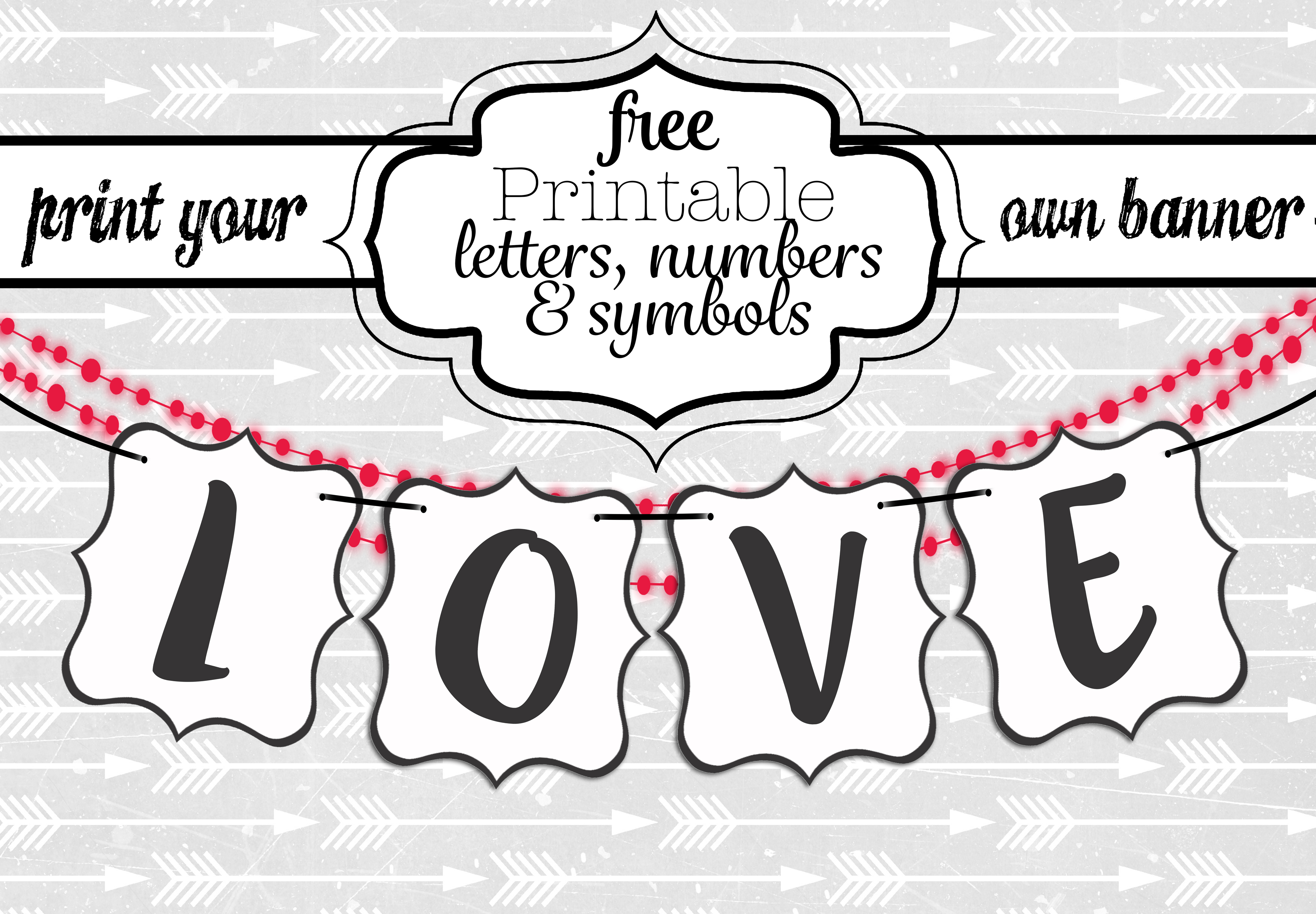 Free Printable Black And White Banner Letters   Diy Swank - Printable Banner Letters Template Free