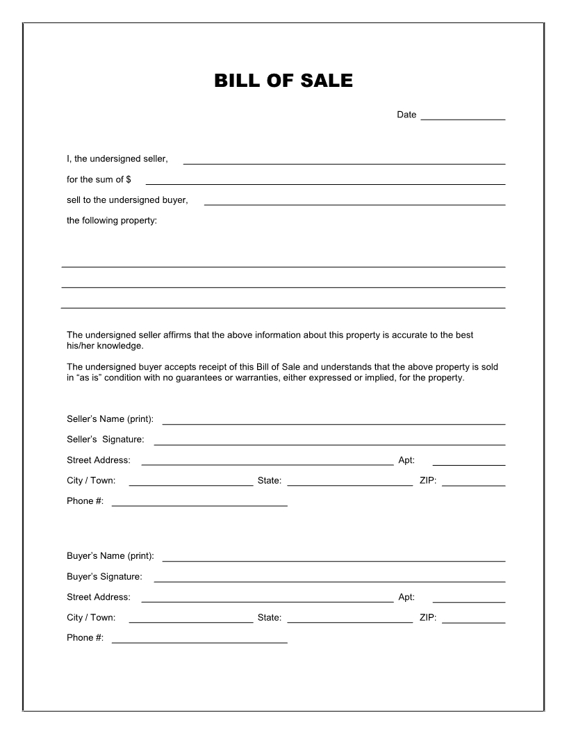 Free Printable Blank Bill Of Sale Form Template - As Is Bill Of Sale - Free Printable Bill Of Sell