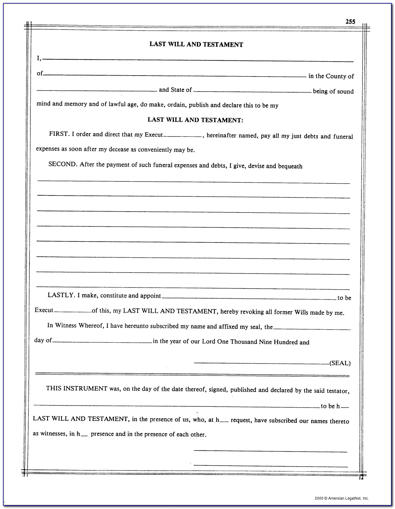 Free Printable Blank Last Will And Testament Forms - Form : Resume - Free Printable Blank Last Will And Testament