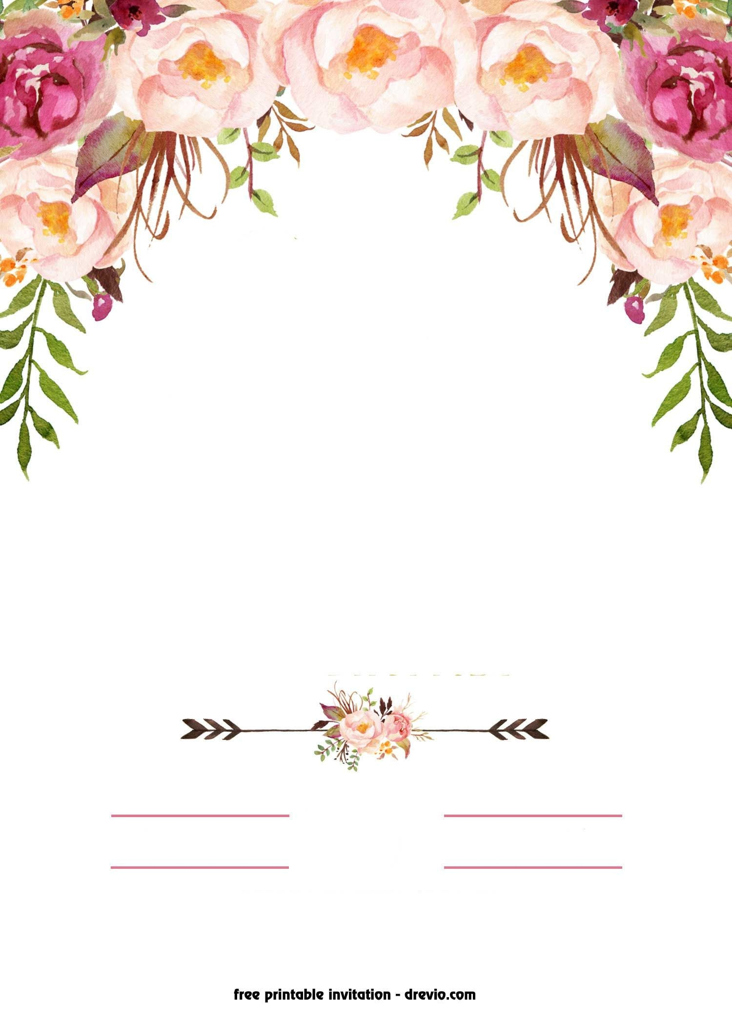 Free Printable Boho Chic Flower Baby Shower Invitation Template - Free Boho Baby Shower Printables