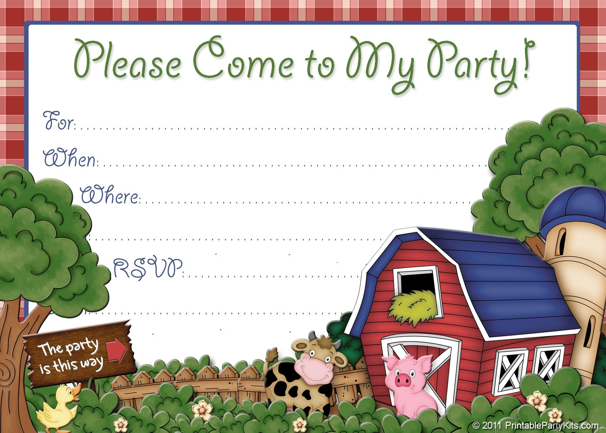 Free Printable Boys Birthday Party Invitations | Invitation Cards - Free Printable Farm Birthday Invitations
