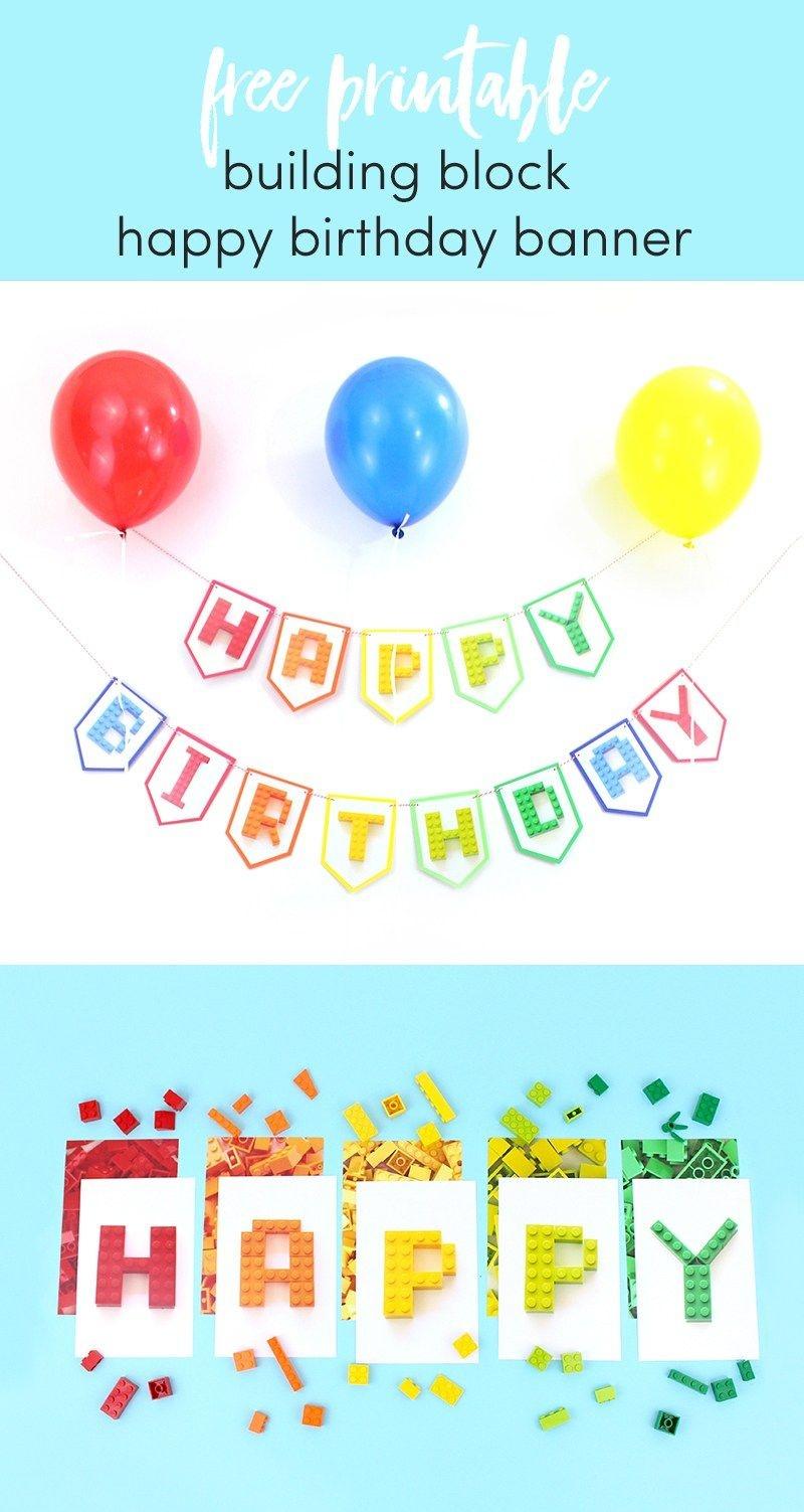 Free Printable Building Block Happy Birthday Banner | Printable - Free Printable Lego Banner