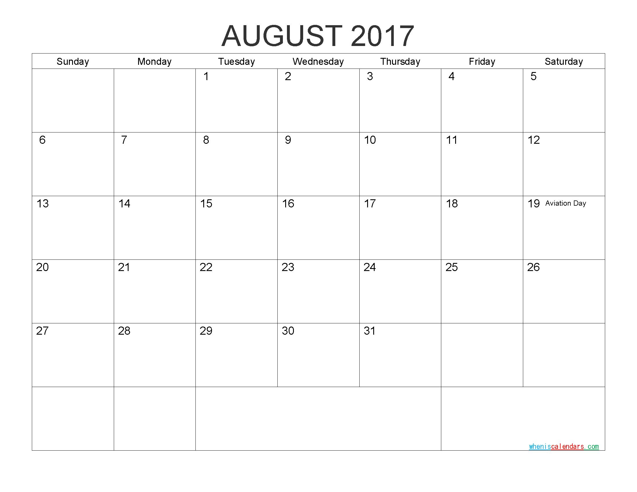 Free Printable Calendar August 2017 As Pdf And Image | Free - Free Printable August 2017