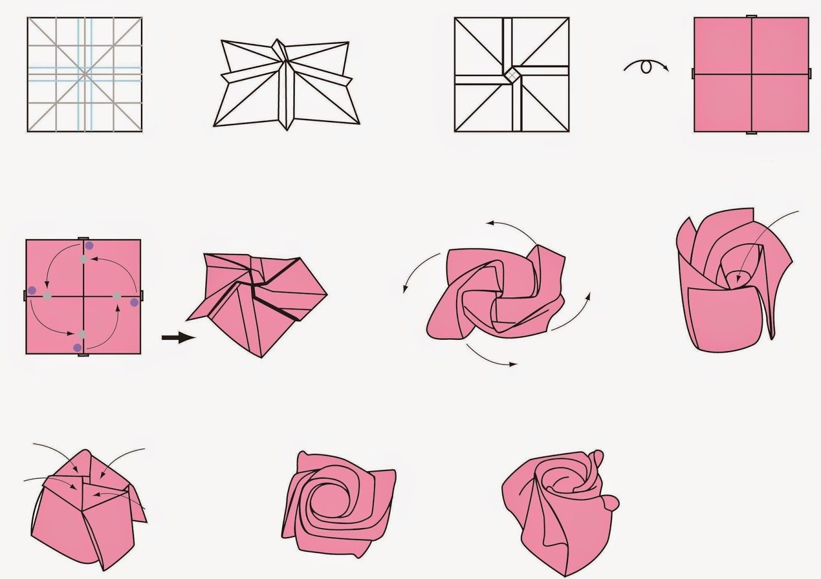 Free Printable Cards: Free Printable Origami Rose | Papercutting - Free Easy Origami Instructions Printable