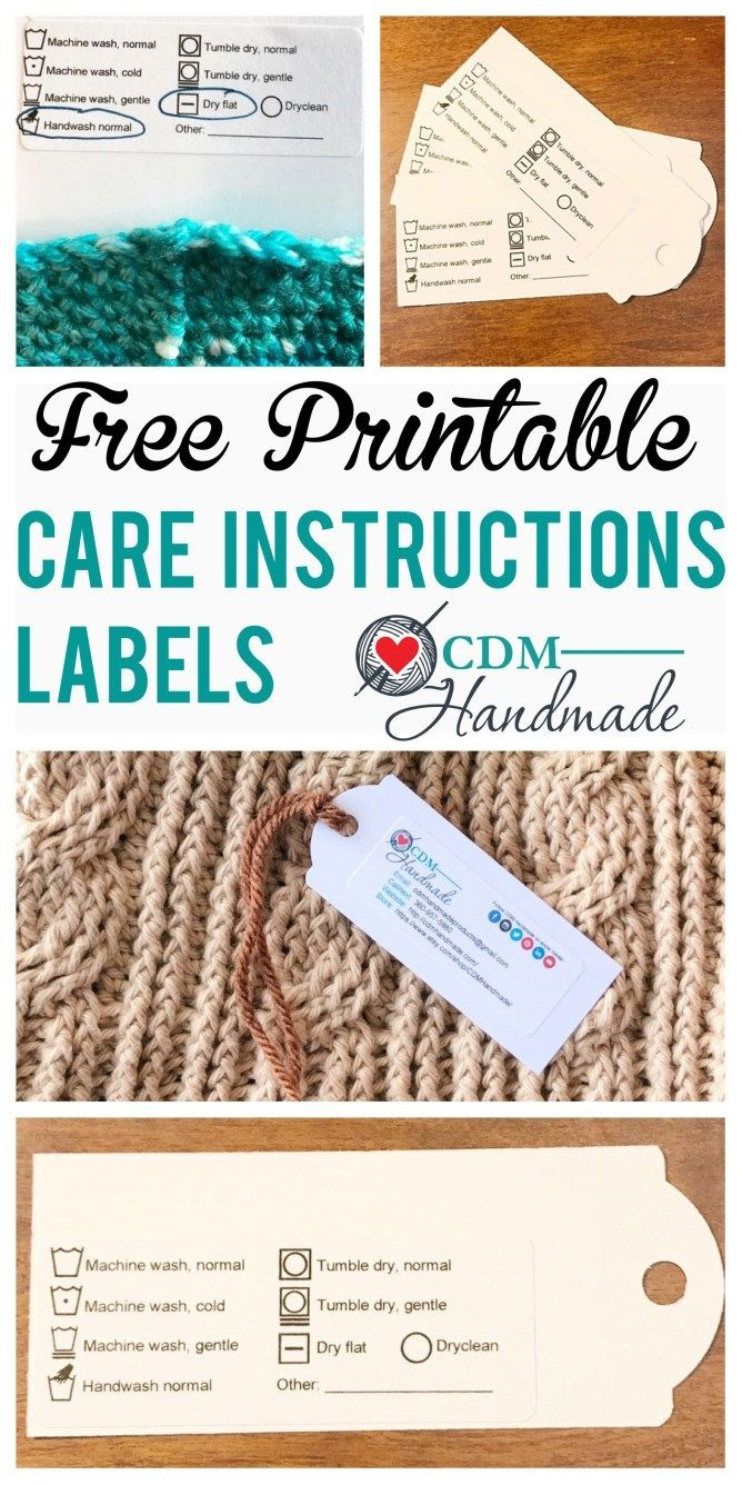 Free Printable Care Instructions Labels For Crafters – Cdm Handmade - Free Printable Knitting Labels