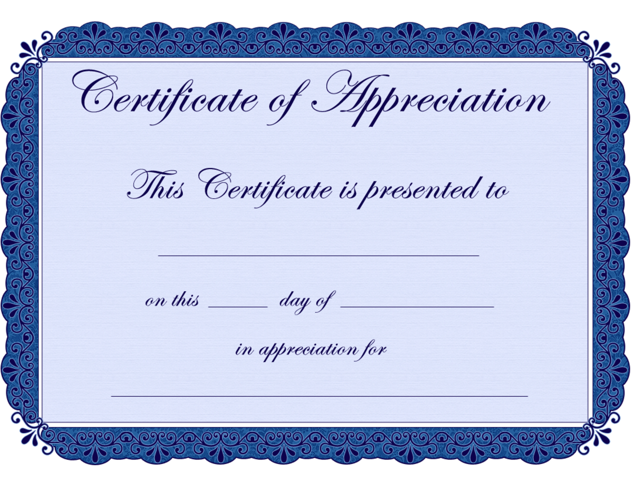 Free Printable Certificates Certificate Of Appreciation Certificate - Free Printable Blank Certificates Of Achievement