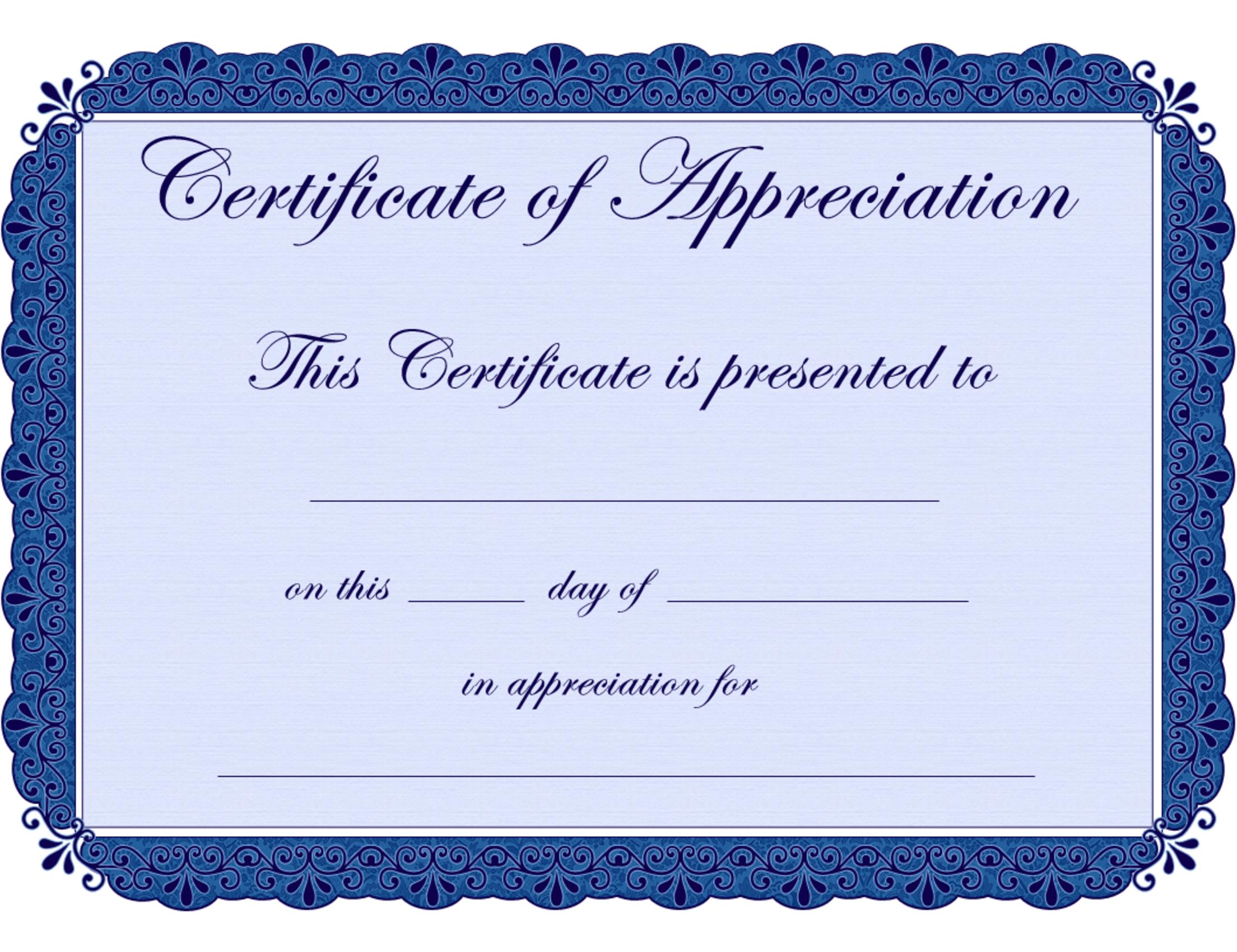 Free Printable Certificates Certificate Of Appreciation Certificate - Free Printable Certificates