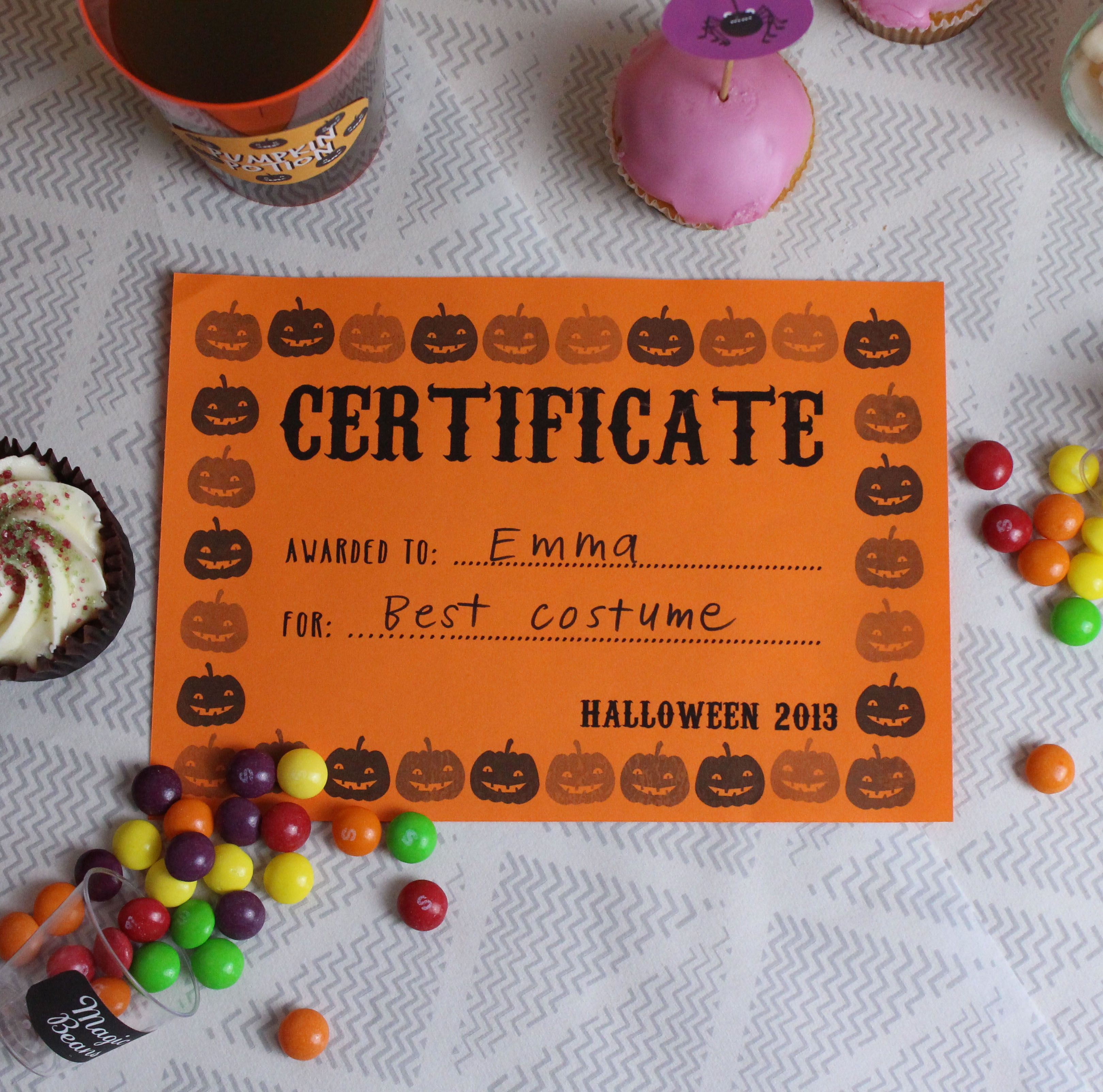 Free Printable Certificates For Halloween! | Our Halloween Party - Best Costume Certificate Printable Free