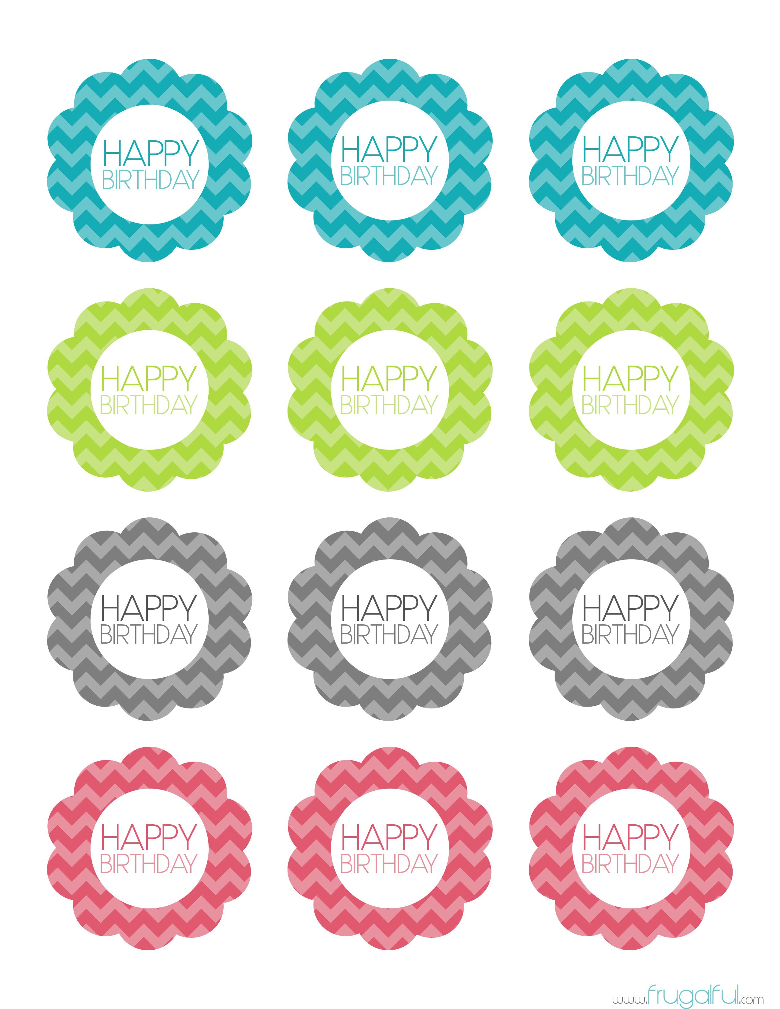 Free Printable Chevron Birthday Cupcake Topper | Frugalful | Par - Free Printable Birthday Tag Templates