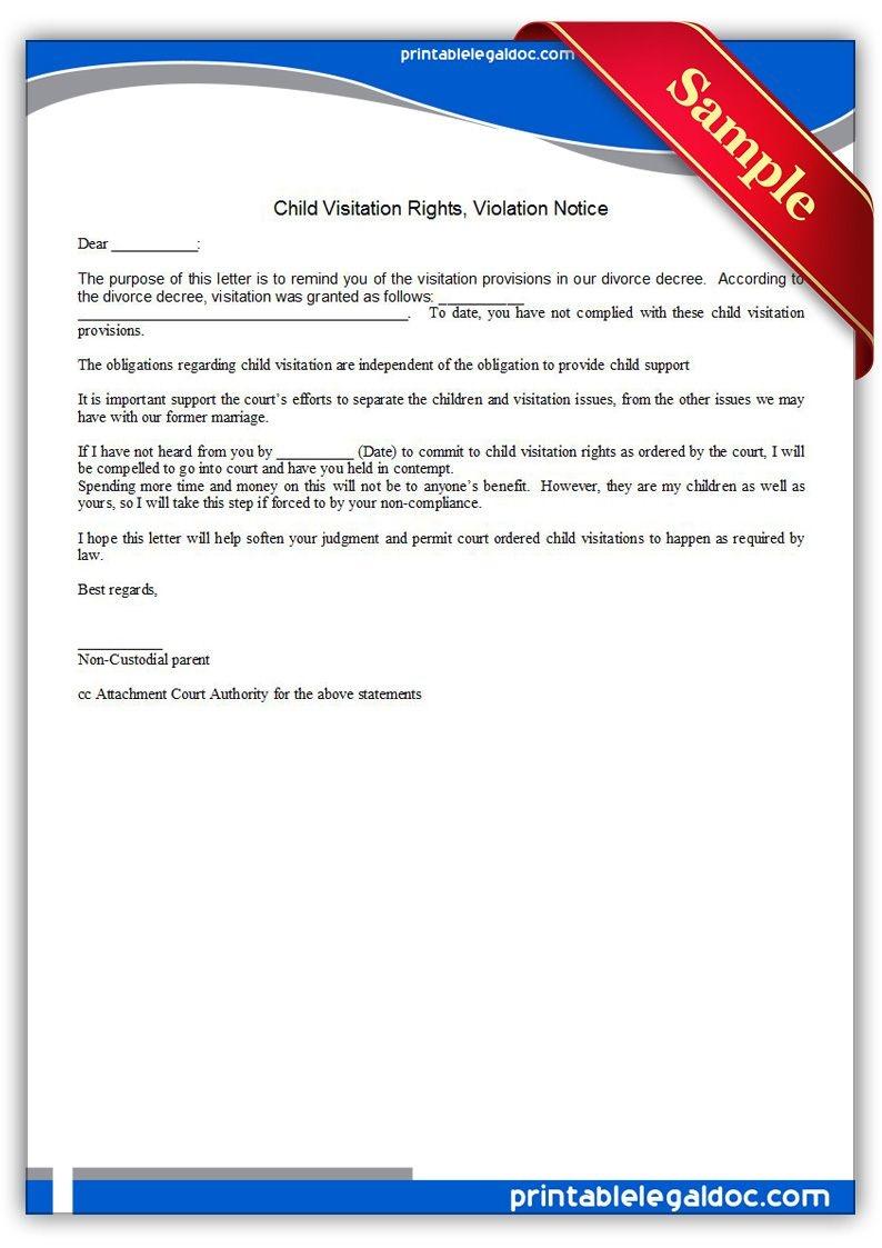 Free Printable Child Visitation Rights, Viiolation Notice   Sample - Free Printable Parenting Plan
