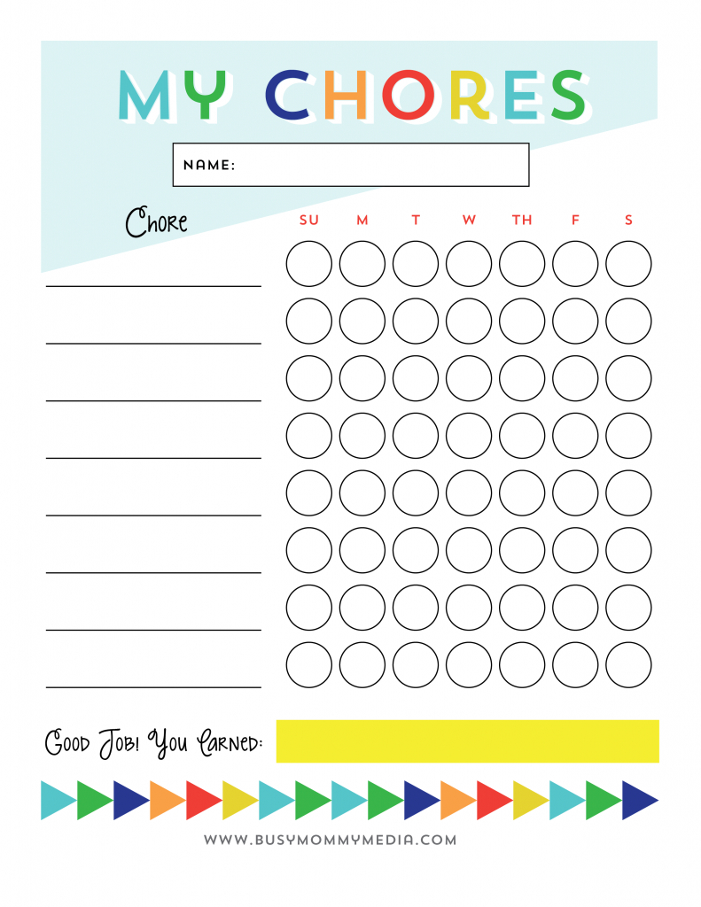Free Printable - Chore Chart For Kids | Ogt Blogger Friends | Chore - Free Printable Chore Charts For Kids