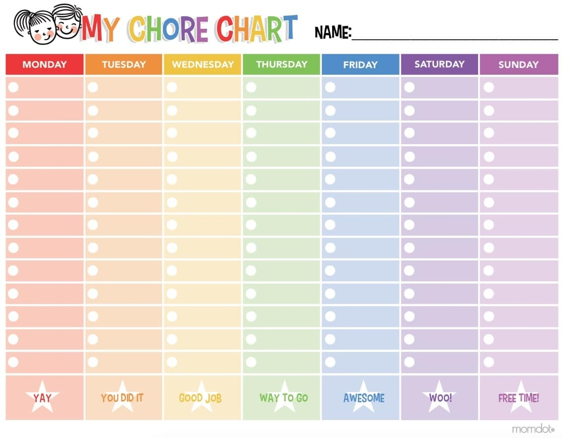 Free Printable Chore Chart - - Free Printable To Do Charts