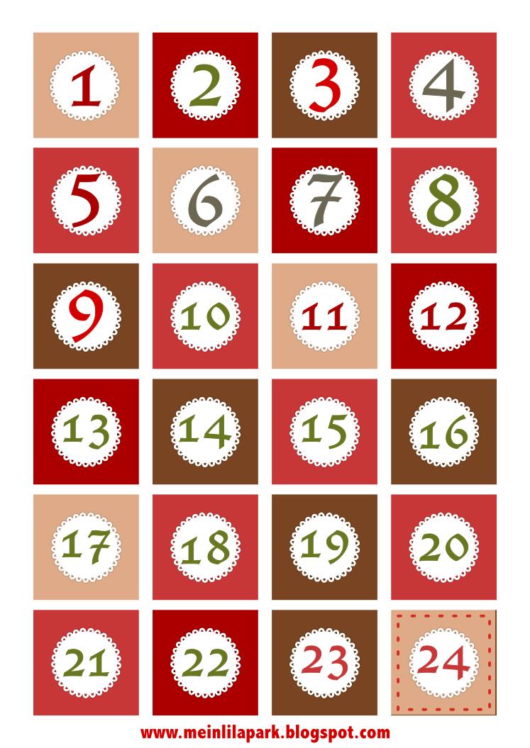 Free Printable Christmas Advent Calendar Numbers And Borders - Free Printable Advent Numbers