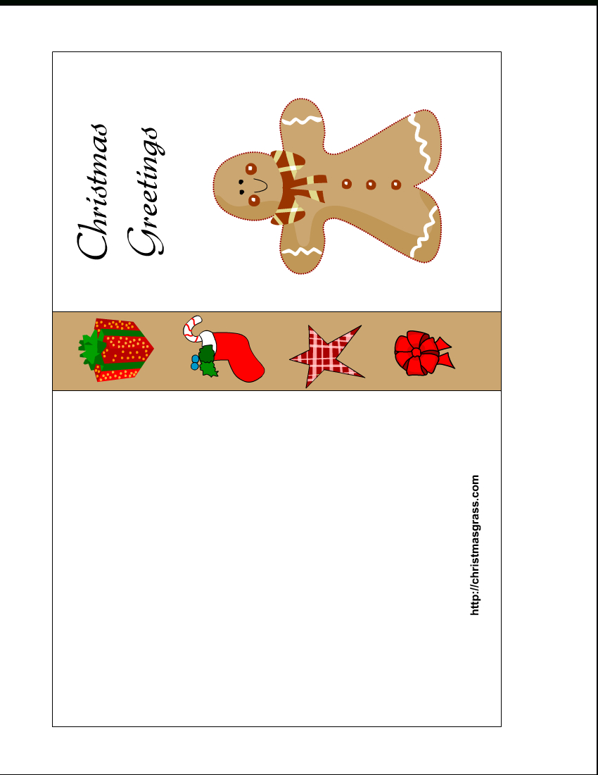 Free Printable Christmas Card With Gingerbread Man - Free Printable Happy Holidays Greeting Cards