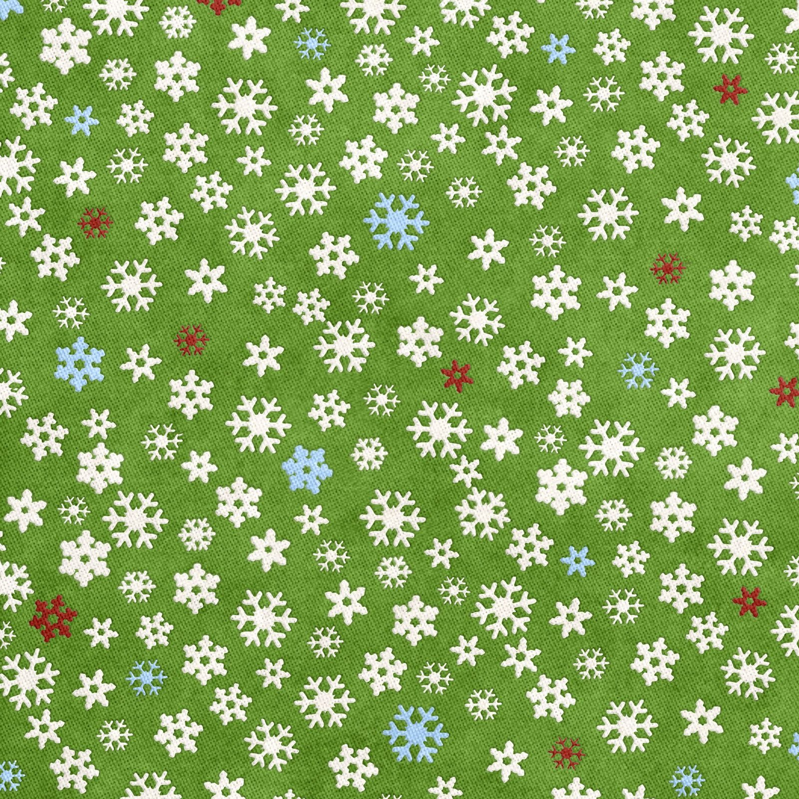 Free Printable Christmas Gift Wrapping Paper - Snowflakes On Green - Free Printable Scrapbook Paper Christmas