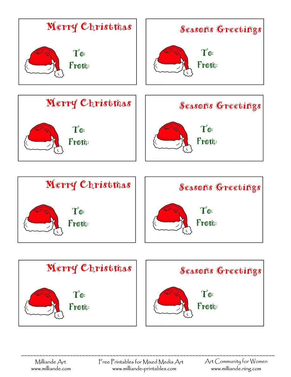 Free Printable Christmas Labels Santa Hat Christmas Gift Tags To - Free Printable Christmas Labels