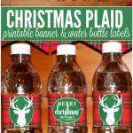 Free Printable Christmas Plaid Tartan Water Bottle Labels And   Christmas Water Bottle Labels Free Printable