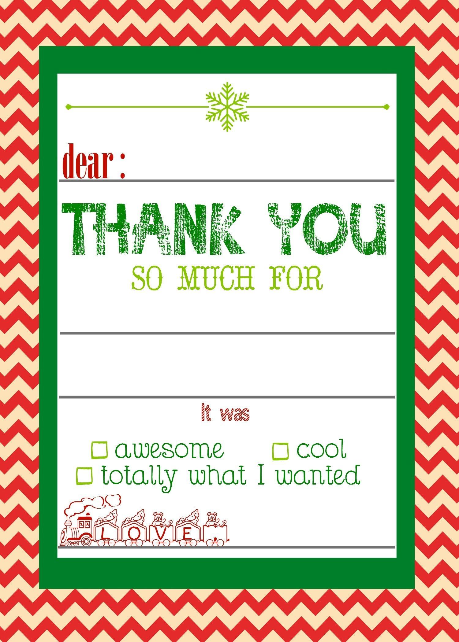 Free, Printable Christmas Thank You Cards For Kids   Christmas - Free Printable Christmas Thank You Cards