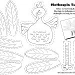 Free Printable   Clothespin Turkey. Easy Craft Idea For The Kids   Free Printable Thanksgiving Crafts For Kids