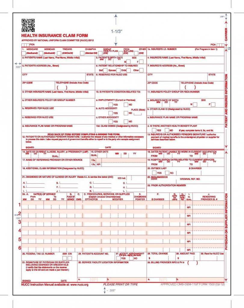 Free Printable Cms 1500 Form 02 12 Unique Cms Claim Form Cms1500 - Free Printable Cms 1500 Form 02 12