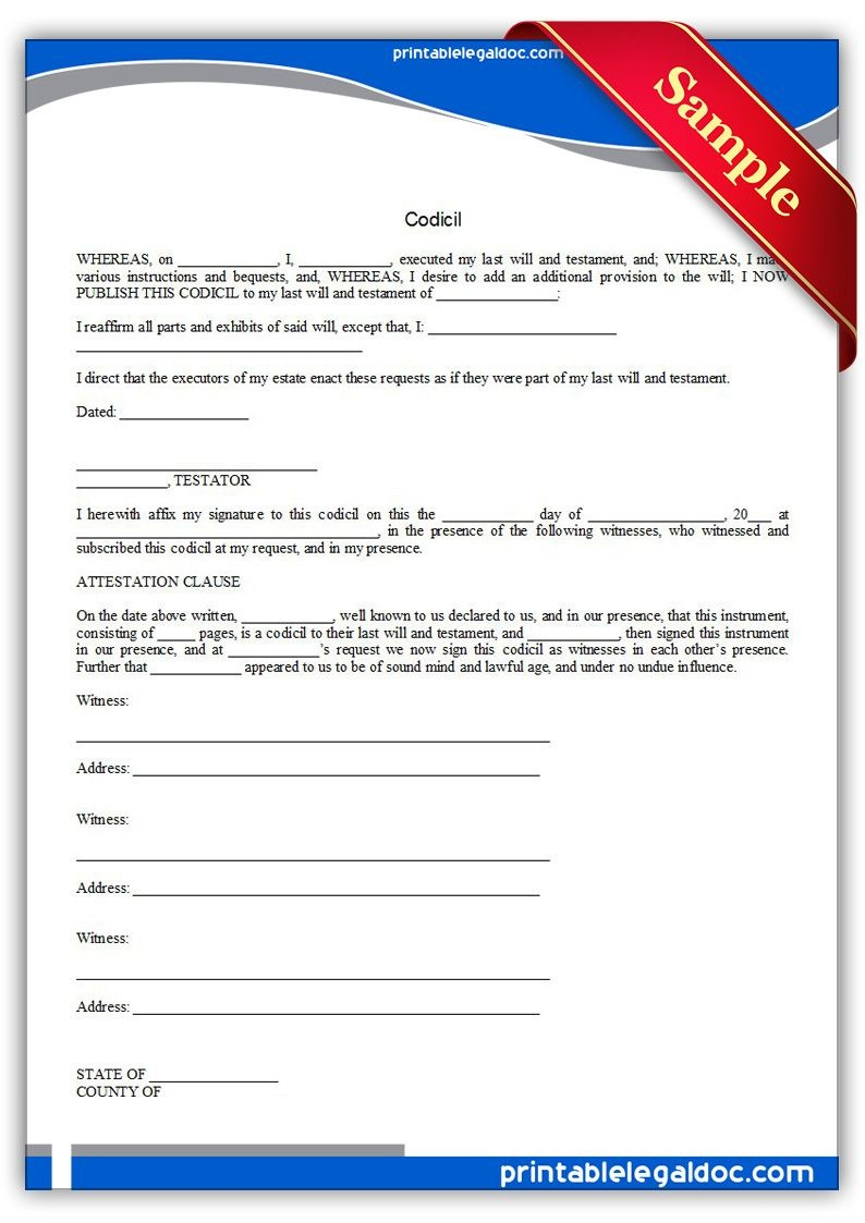 Free Printable Codicil | Sample Printable Legal Forms | Legal Forms - Free Printable Legal Forms