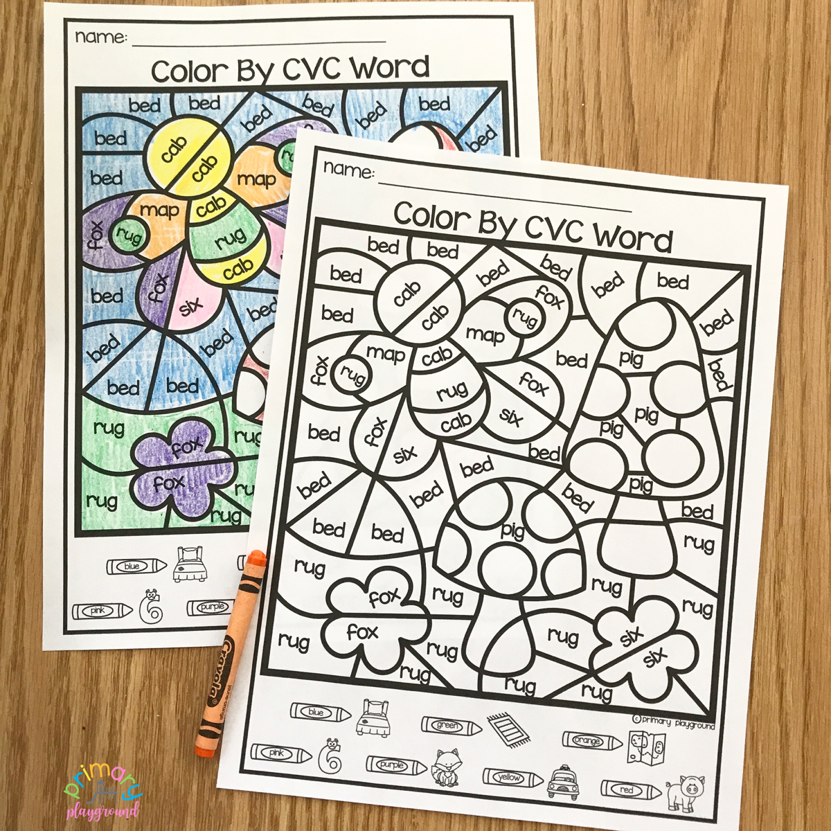 Free Printable Colorcode Cvc Words - Primary Playground - Free Printable Cvc Words With Pictures