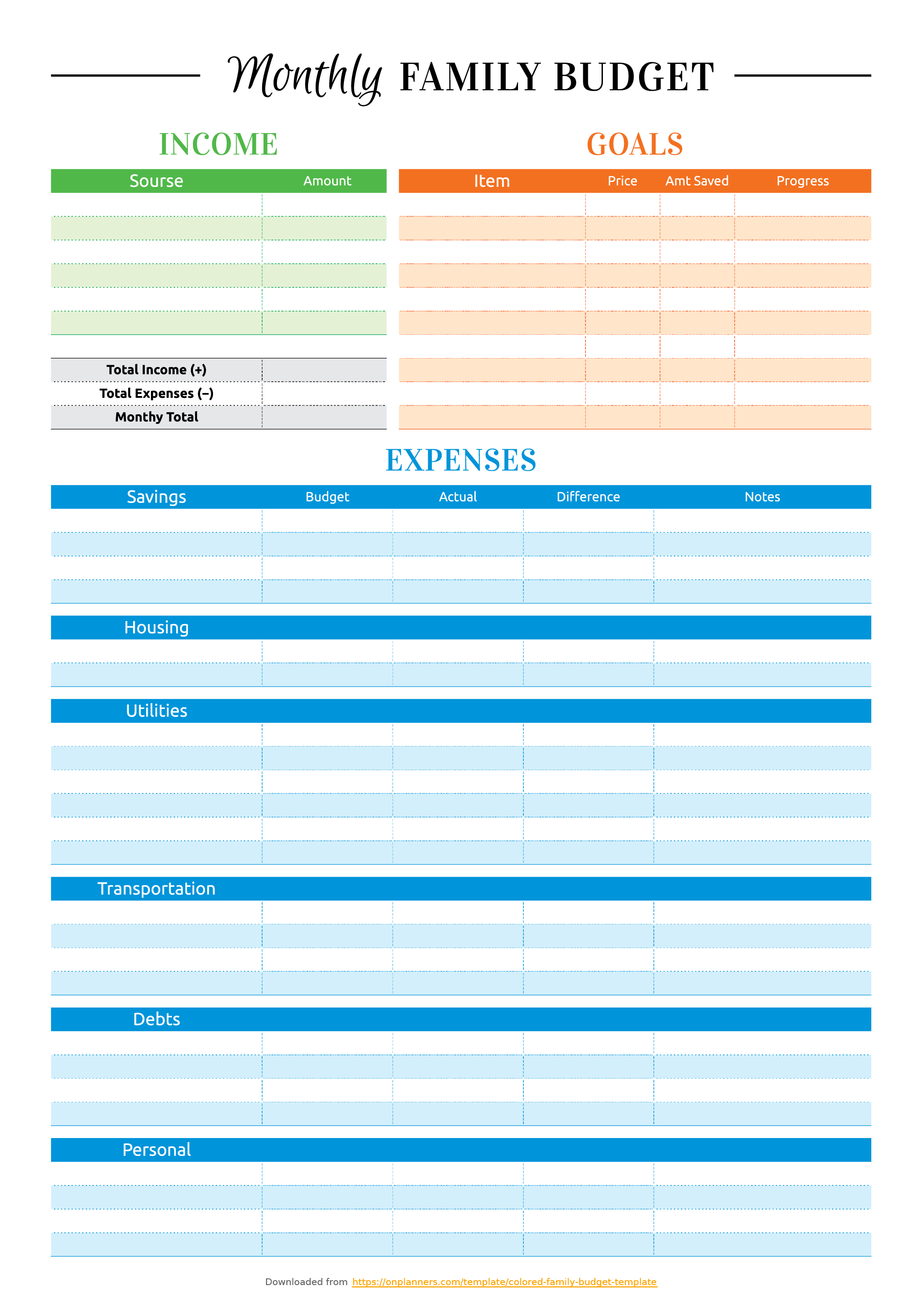 Free Printable Colored Family Budget Template Pdf Download - Free Printable Family Budget