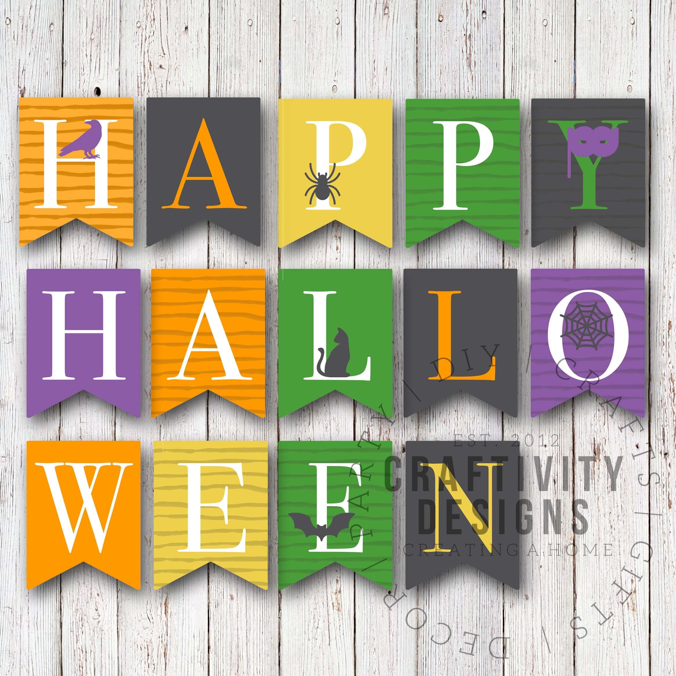 Free Printable Colorful Halloween Banner - Unoriginal Mom - Free Printable Halloween Banner