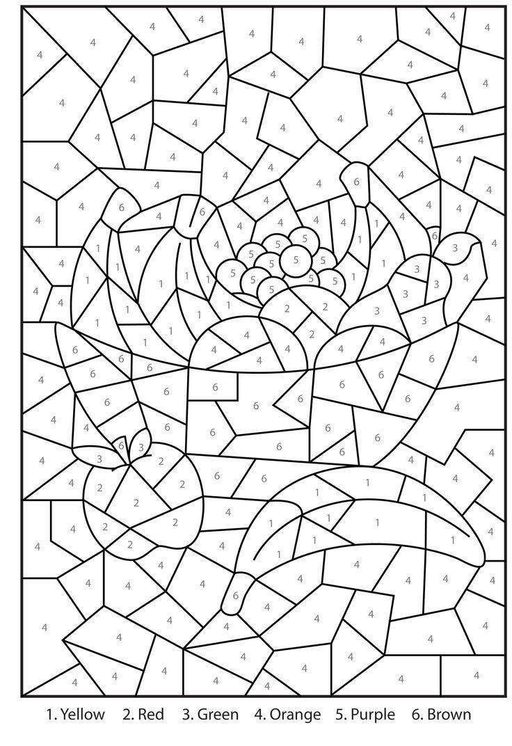 Free Printable Colornumber Coloring Pages For Adults | Color - Free Printable Color By Number